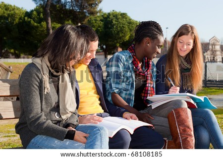 college students studying. stock photo : College Students