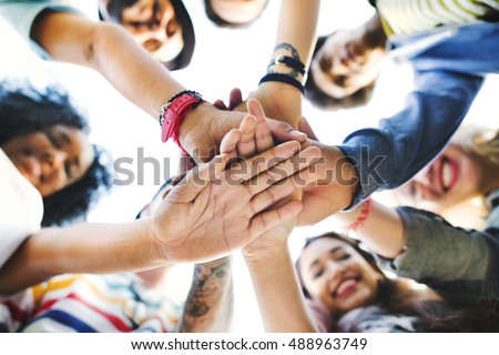 College Students Teamwork Stacking Hand Concept #488963749