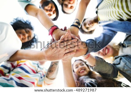 College Students Teamwork Stacking Hand Concept #489271987