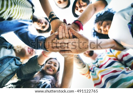 College Students Teamwork Stacking Hand Concept #491122765