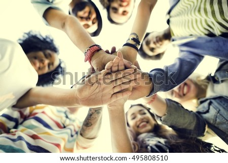 College Students Teamwork Stacking Hand Concept #495808510