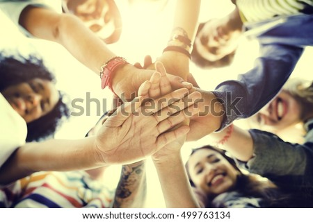 College Students Teamwork Stacking Hand Concept #499763134