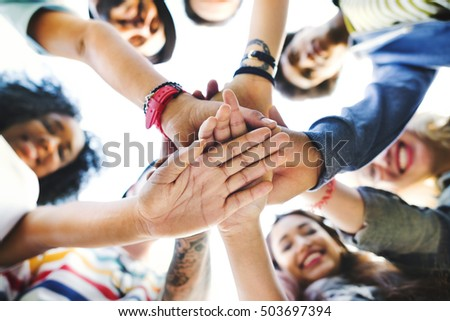 College Students Teamwork Stacking Hand Concept #503697394