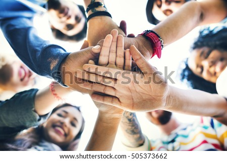 College Students Teamwork Stacking Hand Concept #505373662