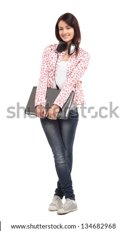 College university student woman. Happy smiling adult female student standing in full body length isolated on white background