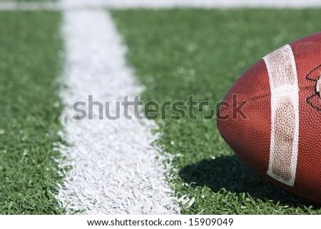 Collegiate football near the yardline