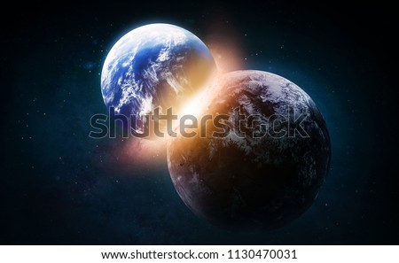 Collide of the Earth and exoplanet in the space. Explosion and flash. Born of the star. Elements of this image furnished by NASA