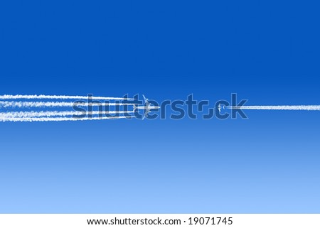 Colliding airplanes in a blue sky