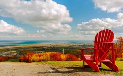 Collingwood area,Blue Mountain village, resort, Ontario, Canada, nice inviting natural landscape view from the mountain on Georgian Bay, Lake Huron with tranquil, turquoise waters on sunny autumn day