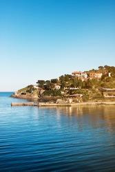 Collioure village in sunny evening, Roussillon, Vermilion coast, Pyrenees Orientales, France