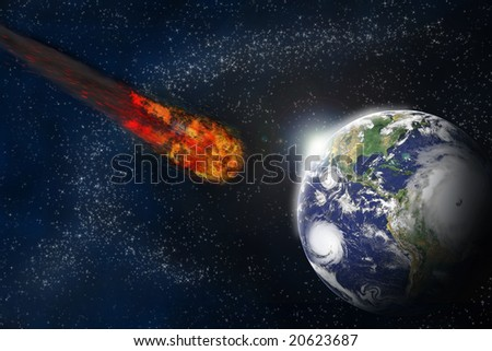 Collision of an asteroid with the Earth.