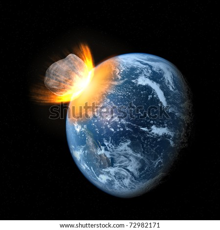 Collision of an asteroid with the Earth - stock photo