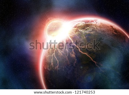 Collision of earth and smaller planet. Elements of this image furnished by NASA - stock photo