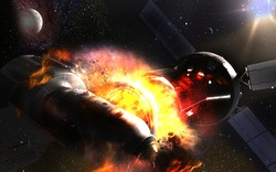Collision of spaceships, fire and destruction. Traffic rules in space are not yet internationally regulated. Elements of this image furnished by NASA.