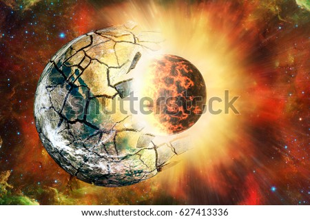 Stock Photo Collision of two planets in open space. Elements of this image furnished by NASA