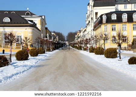 Collonade in Franzensbad in winter time. There are white snow. It is west Bohemia spa town.