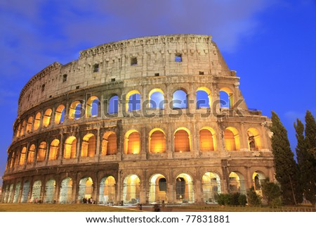 Collosseum atnight, Rome, Italy