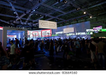 COLOGNE - AUGUST 20: Nintendo Booth at GamesCom 2011, the most important European video games Expo August 20, 2011 in Cologne, DE