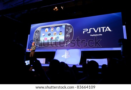 COLOGNE - AUGUST 16: PSVita or PlayStation Vita at GamesCom 2011, the most important European video games Expo August 16, 2011 in Cologne, DE - stock photo