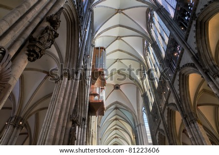 Cologne Cathedral HDR Image made from three exposures and merged to show all the shadows and highlights of the place. - stock photo