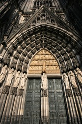 Cologne cathedral of Saint Peter and Mary door taken with extremely wide angle lens. Famous church. Seat of Archbishop. UNESCO World Heritage Site.
