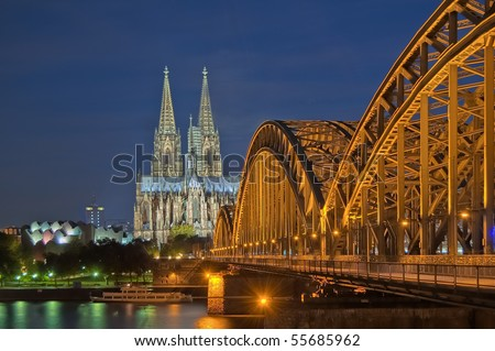Cologne cathedral with rhine bridge, Germany