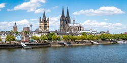 Cologne city skyline in summer along the Rhine river, North Rhine-Westphalia, Germany