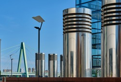 Cologne cityscape. Kranhaus building complex with crane house on riverside of Rhein in Cologne, Germany.