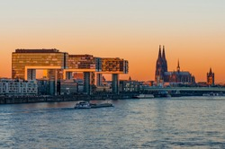 Cologne – Crane houses and Cathedral at sunset