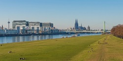 Cologne – Crane houses (Kranhäuser) and Cathedral at golden hour