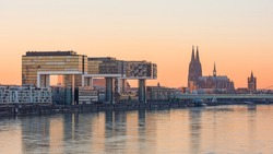 Cologne – Crane houses (Kranhäuser) and Cathedral at sunset