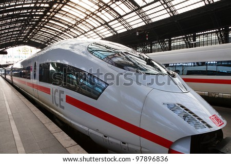 COLOGNE - FEB 13: Intercity Express train of Deutsche Bahn on FEB 13,2011 in Cologne,Germany.German rail operator Deutsche Bahn has reportedly confirmed that it will begin services to London from 2013