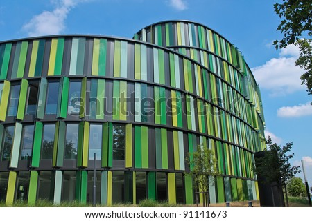 COLOGNE,GERMANY - AUGUST 20:Cologne oval office on the riverside of Rhine on August 20, 2011 in Cologne. First EU GreenBuilding. Energy-saving construction. Architect: Sauerbruch Hutton Architects