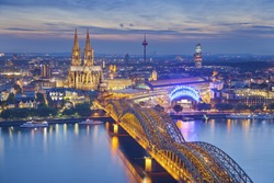 Cologne, Germany. Image of Cologne with Cologne Cathedral during twilight blue hour.
