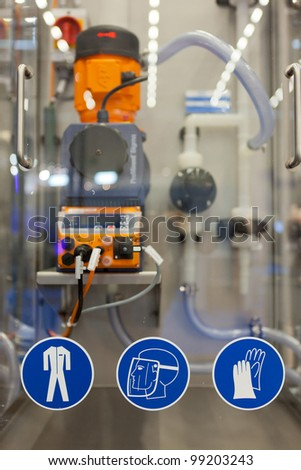 COLOGNE, GERMANY - MARCH 27 : New Clean In Place system with work safety pictograms on display at the Loehrke booth at the ANUGA FoodTec industry trade show in Cologne, Germany on March 27, 2012.