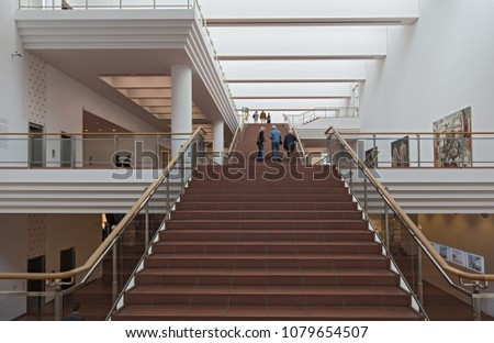 COLOGNE, GERMANY - MARCH 31, 2018: staircase at the museum ludwig, cologne, germany #1079654507
