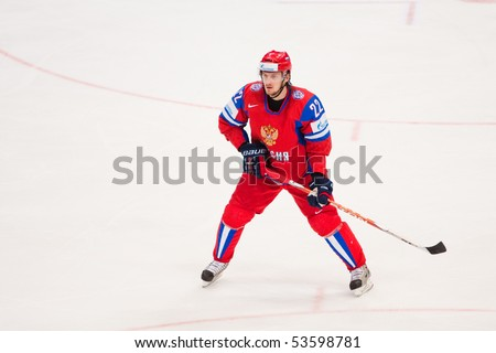 COLOGNE, GERMANY - MAY 20 : 2010 IIHF (Internation Ice Hockey Federation) World Championship. KORNEYEV Konstantin during quarterfinal game between Russia and Canada. Russian win 5:2. April 20, 2010 in Cologne, Germany
