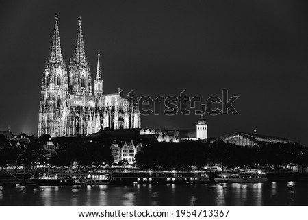 Cologne, Germany. Night View Of Cologne Cathedral. Catholic Gothic Cathedral In Night. UNESCO World Heritage Site. Black And White Colors. Photo stock ©