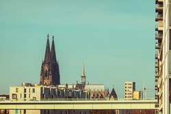 Cologne Koln, Germany: View of the Famous Dom Cathedral from the Rheinauhafen, Cologne Harbor, with Copy Space