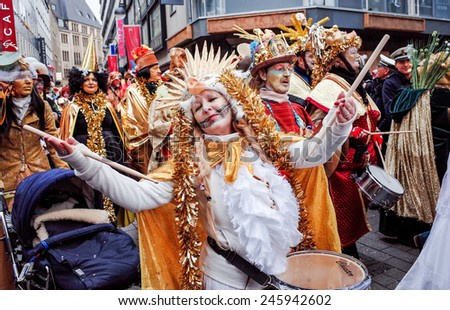 Cologne, North Rhine-March 3 : more than one million spectators on the streets.Carnival parade on March 3, 2014 in Cologne,Germany.
