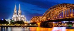 Cologne with Cologne Cathedral, Rhine and Hohenzollern Bridge at night