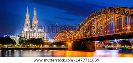 Cologne with Cologne Cathedral, Rhine and Hohenzollern Bridge at night #1479711839