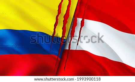 Colombia and Austria flags with scar concept. Waving flag 3D rendering. Colombia and Austria conflict concept. Colombia Austria relations concept. flag of Colombia and Austria crisis,war, attack
