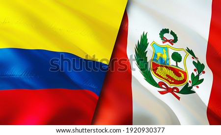 Colombia and Peru flags. 3D Waving flag design. Colombia Peru flag, picture, wallpaper. Colombia vs Peru image,3D rendering. Colombia Peru relations war alliance concept.Trade, tourism concept