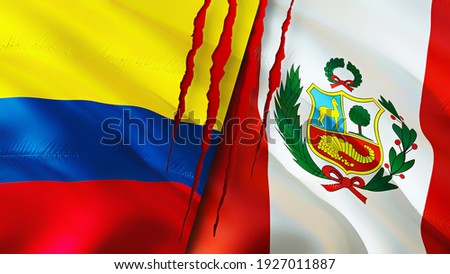 Colombia and Peru flags with scar concept. Waving flag 3D rendering. Colombia and Peru conflict concept. Colombia Peru relations concept. flag of Colombia and Peru crisis,war, attack concept