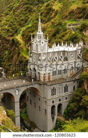 Colombia church of Las Lajas built between 1916 and 1948 is a popular destination for religious believers from all part of Latin America topographically the most beautiful in the world