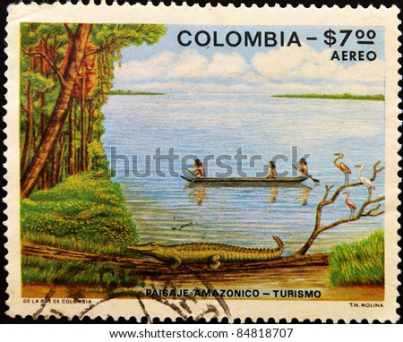 COLOMBIA - CIRCA 1979: A stamp printed in colombia shows Amazonian landscape, circa 1979