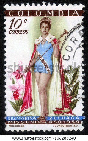 COLOMBIA - CIRCA 1959: A stamp printed in Colombia shows image of Luz Marina Zuluaga from Colombia, Miss Universe 1959,  circa 1959