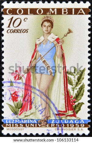 COLOMBIA - CIRCA 1959: A stamp printed in Colombia shows Luz Marina Zuluaga, Miss Universe, circa 1959