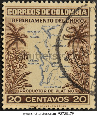 COLOMBIA - CIRCA 1940: A stamp printed in Colombia shows map of the department of Choco, producer of platinum, circa 1940